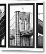 Nyc Three Bridges-east River Metal Print