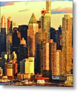 Nyc West Side In Gold And Blue  Metal Print