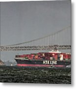 Nyl Line Container Ship By Bay Bridge In San Francisco, California Metal Print