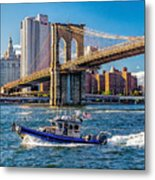 Nypd On East River Metal Print