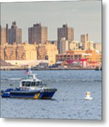 Nypd Patrol Boat In East River Metal Print