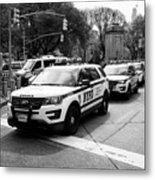 nypd police patrol vehicles parked at columbus circle New York City USA Metal Print