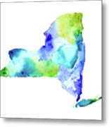 New York State In Blue And Green Metal Print