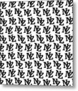 Nz New Zealand Black On White Metal Print