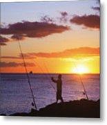 Oahu Fisherman Metal Print