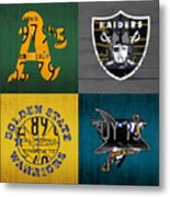 Oakland Sports Fan Recycled Vintage California License Plate Art Athletics Raiders Warriors Sharks Metal Print