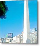 Obelisk On July Nine Avenue In Buenos Aires-argentina Metal Print
