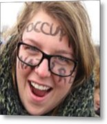 Occupy Nature Face Paint At Political Demonstration Metal Print