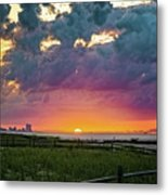 Ocean City Cloudy Sunrise Metal Print