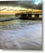 Ocean Fishing Pier Sunrise Metal Print