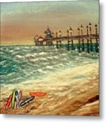 Ocean Pier Metal Print by Kenneth  LePoidevin
