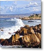 Ocean Spray In Monterey Metal Print