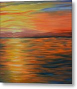 Ocean Sunrise- Oil Painting- Abstract Art Metal Print