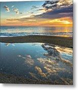 Ocean Sunrise Reflection Metal Print