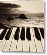 Ocean Washing Over Keyboard Metal Print by Garry Gay