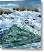 Ocean Waves And Pelicans Metal Print