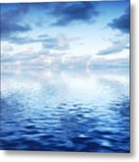 Ocean With Calm Waves Background With Dramatic Sky Metal Print
