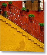 Ochre Staircase With Red Wall 2 Metal Print