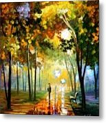 October Reflections - Palette Knife Oil Painting On Canvas By Leonid Afremov Metal Print