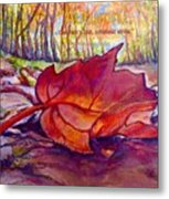 Ode To A Fallen Leaf Painting With Quote Metal Print