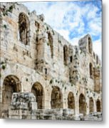Odeon Stone Wall - Athens Greece Metal Print