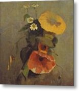 Odilon Redon - Vase With Poppy, Camomile And Bindweed Metal Print