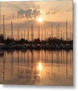 Of Yachts And Cormorants - A Golden Marina Morning Metal Print