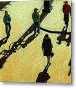 Off To Work Shadows - Painting Metal Print