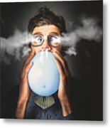 Office Party Nerd Blowing Up Birthday Balloon Metal Print