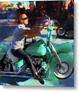 Oh So Turq Biker Metal Print