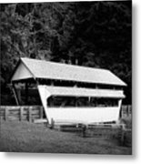 Ohio Covered Bridge In Black And White Metal Print