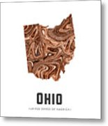 Ohio Map Art Abstract In Brown Metal Print