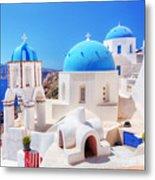 Oia Town On Santorini Island Greece Aegean Sea Metal Print