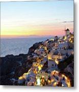 Oia Village In Santorini Island - Greece Metal Print