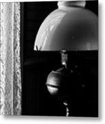 Oil Lamp On Table Metal Print