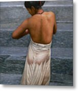 Oil Painting Art-bather On Linen Metal Print