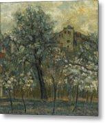 Oil Painting House Tree Metal Print