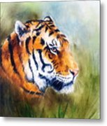 Oil Painting Of A Bright Mighty Tiger Head On A Soft Toned Abstr Metal Print