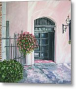 oil painting print art for sale Pink Wall and Door   Metal Print