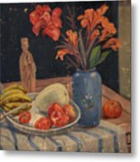 Oil Painting Still Life Vase Fruits Metal Print