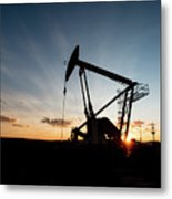 Oil Pumper At Sunset Metal Print