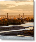 Oil Refinery At Sunset Metal Print