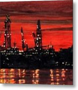 Oil Rigs Night Construction Portland Harbor Metal Print by Dominic White
