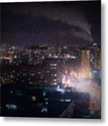 Oil Style City At Night Image Metal Print