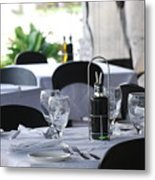 Oils And Glass At Dinner Metal Print
