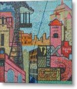 Oklahoma City Bricktown Mosaic Wall Metal Print