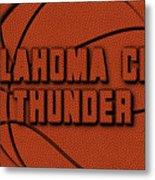 Oklahoma City Thunder Leather Art Metal Print