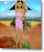 Oklahoma Girl With Mt.fuji Metal Print