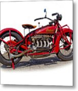 Old 1930's Indian Motorcycle Metal Print by Mamie Thornbrue