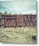 Old Abandoned Box Cars Central Vermont Metal Print